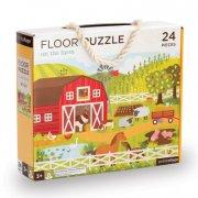 puslespil til børn med bondegård - gulvpuslespil - 24 brikker - petit collage - Brætspil