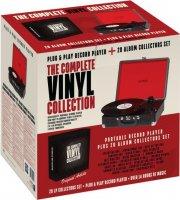 denver rejsegrammofon - sort pladespiller med indbygget højtaler og 20 lp plader - Tv Og Lyd