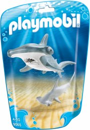 playmobil dyr - 9065 - hammerhovedhaj med baby - Playmobil