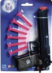 politi legetøj - pistol med patroner - Legetøjsvåben