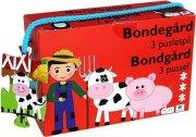 puslespil til børn - bondegård - 3 stk - Brætspil