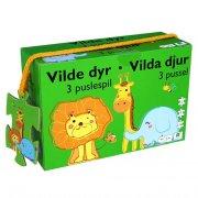 puslespil til børn med dyr - 3 stk - Brætspil