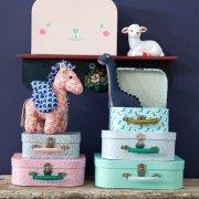 Image of   Rice - Farverige Papkufferter I Assorterede Print - 3 Stk. I Pink Print
