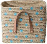rice kurv med læderhåndtag - blå - Til Boligen
