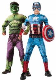hulk / captain america kostume - vendbar - 7-8 år - rubies - Udklædning