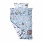 sebra sengetøj / sengesæt - 140x100 cm - blå - farm - Babyudstyr