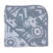 sebra babyhåndklæde / børnehåndklæde med hætte - farm - blå - Babyudstyr