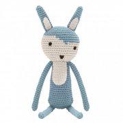sebra - hæklet kanin / bamse - blå - Bamser