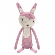 sebra - hæklet kanin / bamse - rosa - Bamser