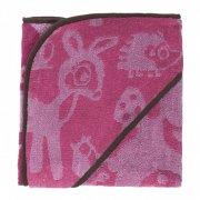 sebra børnehåndklæde med hætte - forest - rosa - Babyudstyr