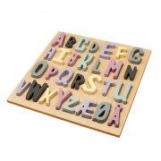 sebra - alfabet puslespil i træ - lyserød - Brætspil
