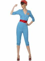 smiffys - 1940s factory girl costume - large (22133l) - Udklædning Til Voksne