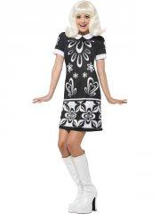 smiffys - 1960's monochrome missy costume - small (43928s) - Udklædning Til Voksne