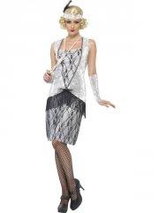 smiffys - flapper costume silver - medium (25278m) - Udklædning Til Voksne