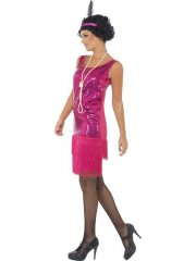 smiffys - funtime flapper costume - pink - x-large (22417x1) - Udklædning Til Voksne
