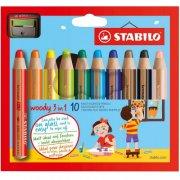 stabilo woody 3 in 1 farveblyanter - 10 stk - Kreativitet