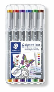 staedtler fineliner - pigment liner - 0.3mm - 6 tuscher - Kreativitet