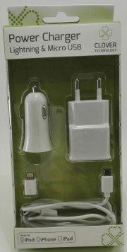 clover strømforsyningsadapter - lightning / micro usb - Mobil Og Tilbehør