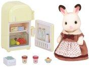 sylvanian families - chocolate rabbit sæt med mor og køleskab - Dukker