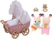 sylvanian families - chocolate rabbit tvillingesæt med barnevogn - Dukker