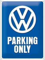 vw parking only - emaljeskilt - 30x40 cm. - Til Boligen