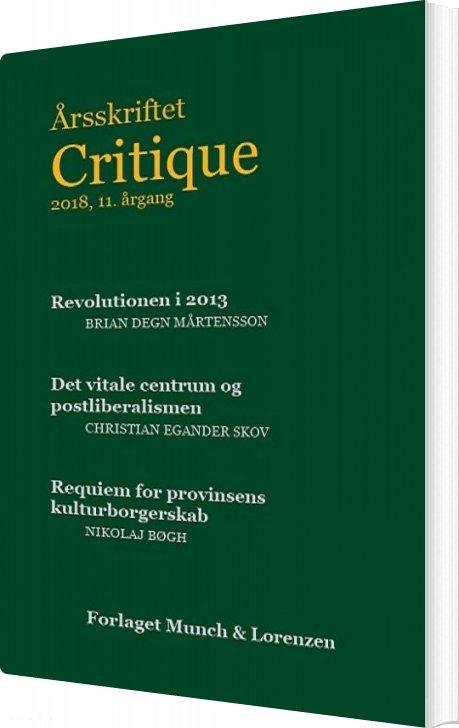 Image of   årsskriftet Critique Xi - Bog