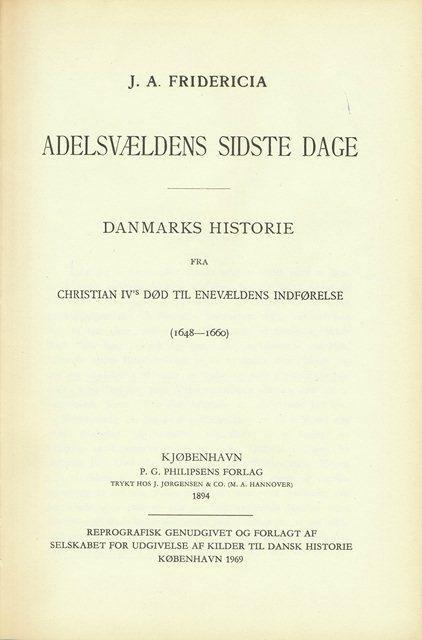 Billede af Adelsvældens Sidste Dage - J.a. Fridericia - Bog