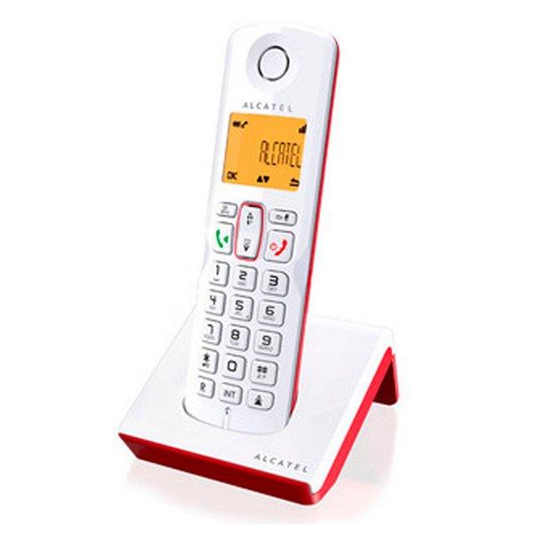 Image of   Alcatel - Trådløs Fastnettelefon Med Oplader - S-250 - Hvid Rød