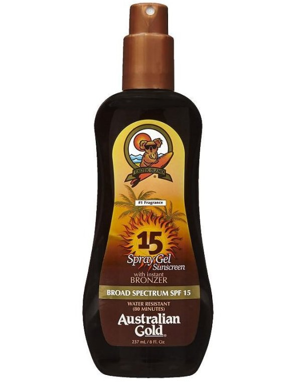 Image of   Australian Gold Solcreme - Spray Gel With Instant Bronzer Spf15 237 Ml