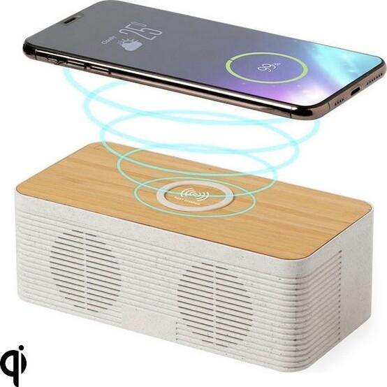 Image of   2-i-1 Bluetooth Højtaler Med Qi Oplader Til Mobil