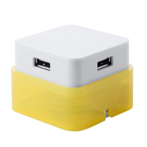 Image of   4-port Usb 2.0 Hub - 5,4 Cm - Hvid Gul
