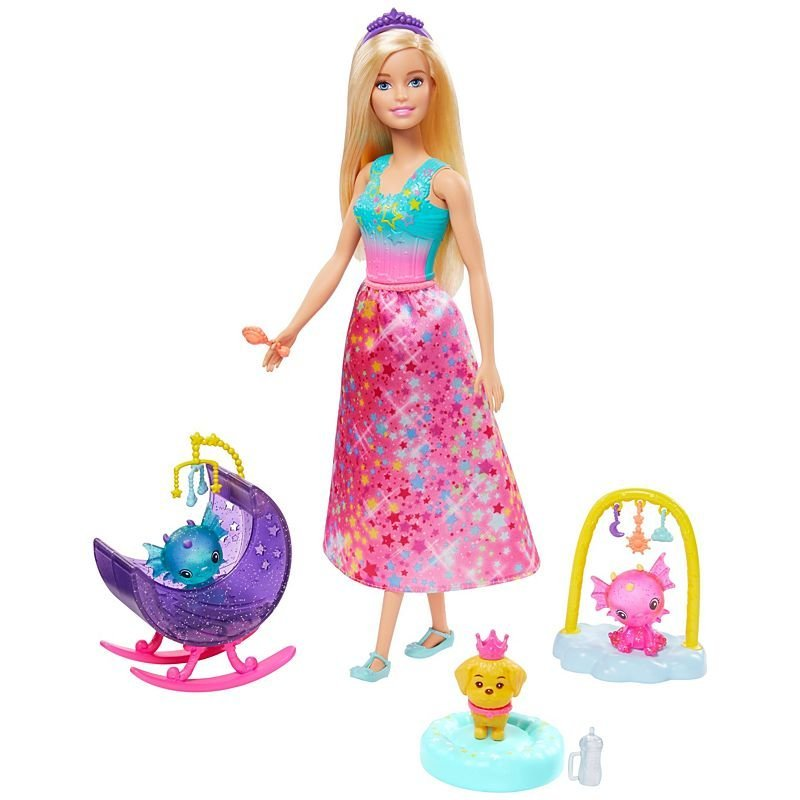 Image of   Barbie Dreamtopia Dukke - Prinsesse Med Honey Og Baby Drager