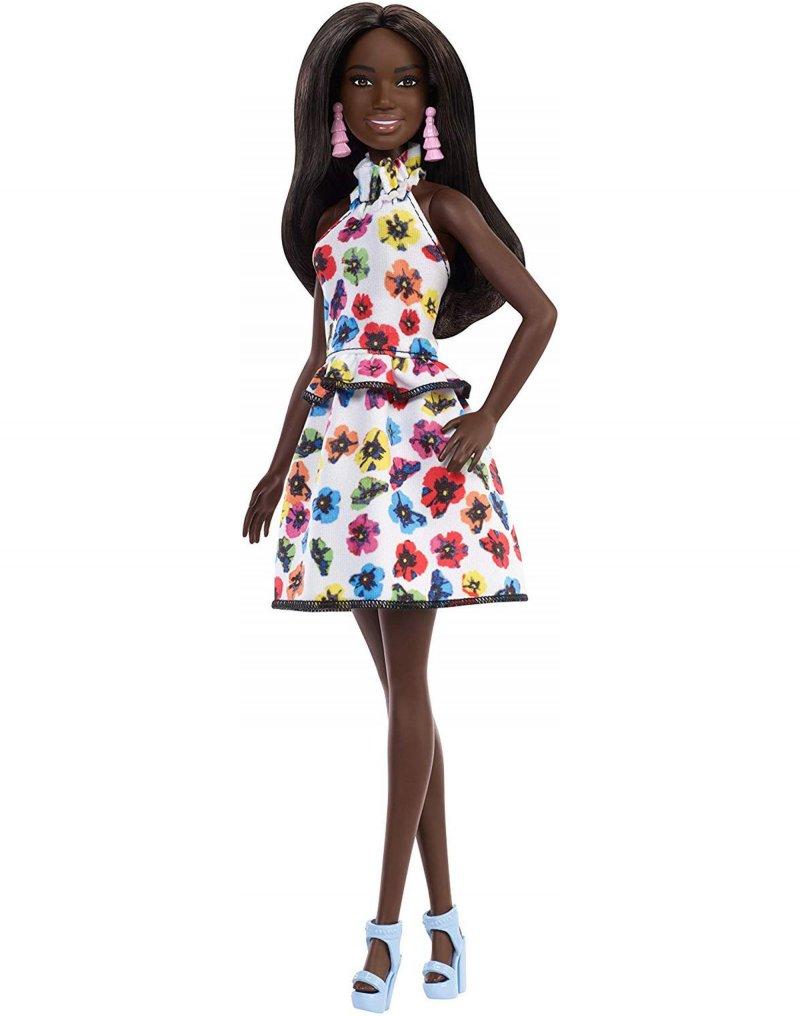 Image of   Barbie Fashionistas Dukke - Mørk Dukke Med Blomster Kjole
