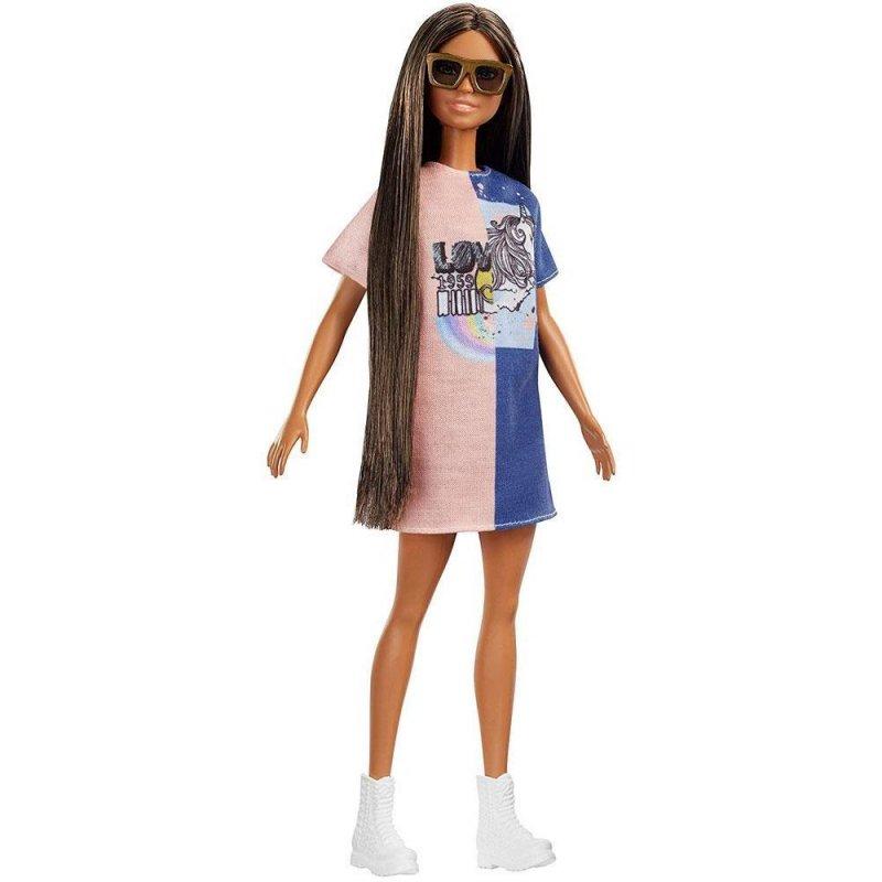 82931637a469 Barbie Fashionistas Dukke - Mørk Dukke Med Enhjørning Kjole → Køb ...
