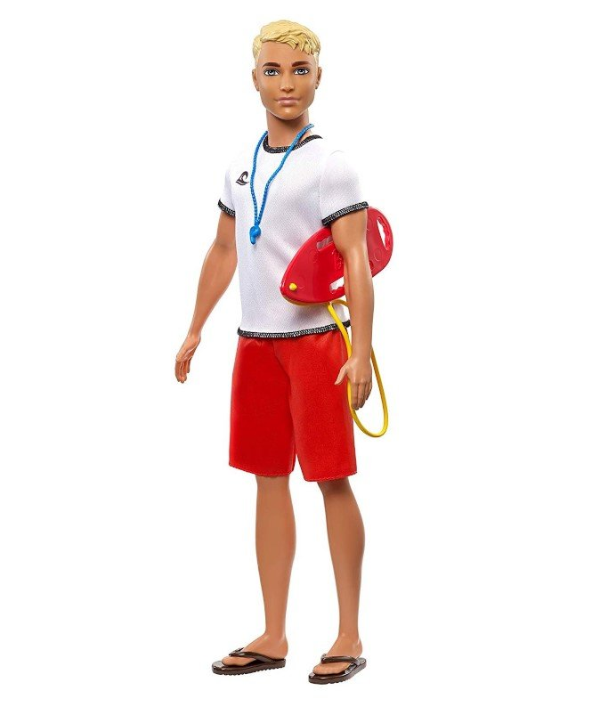Barbie Dukke - Livredder Ken - Rød Hvid