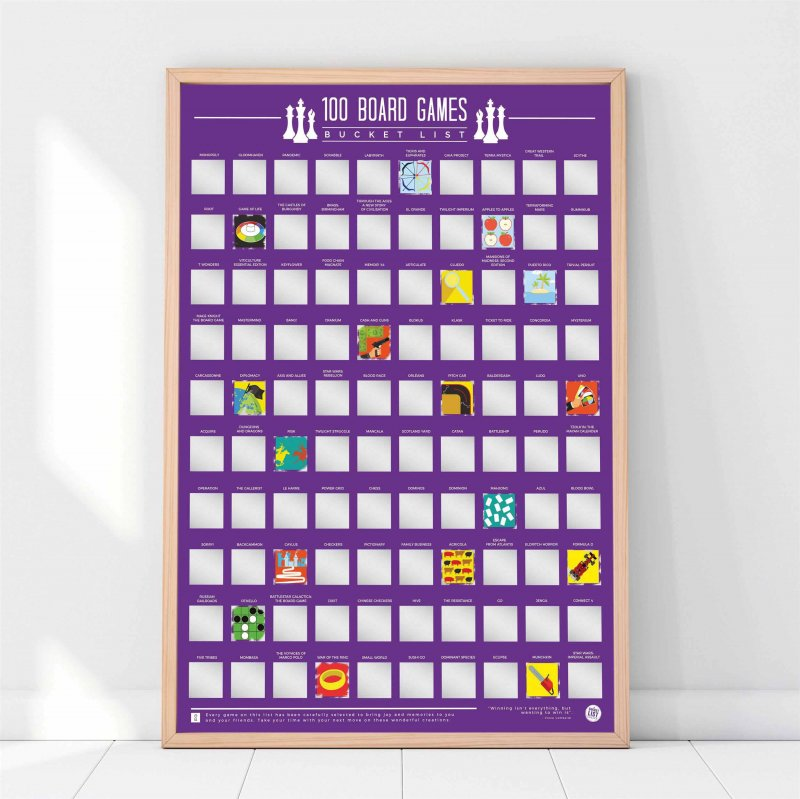 Image of   100 Board Games Bucket List - Skrabe Plakat
