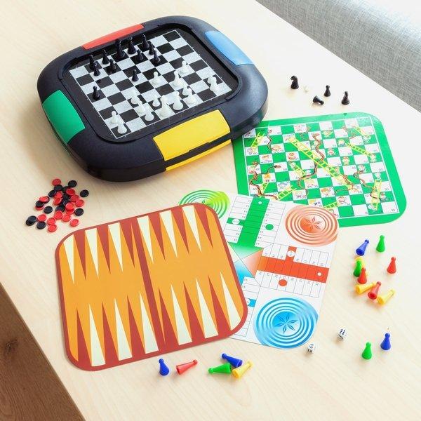 Image of   Brætspil Sæt Inkl. Skak, Ludo, Gåsespil, Backgammon, Slanger Ogstiger
