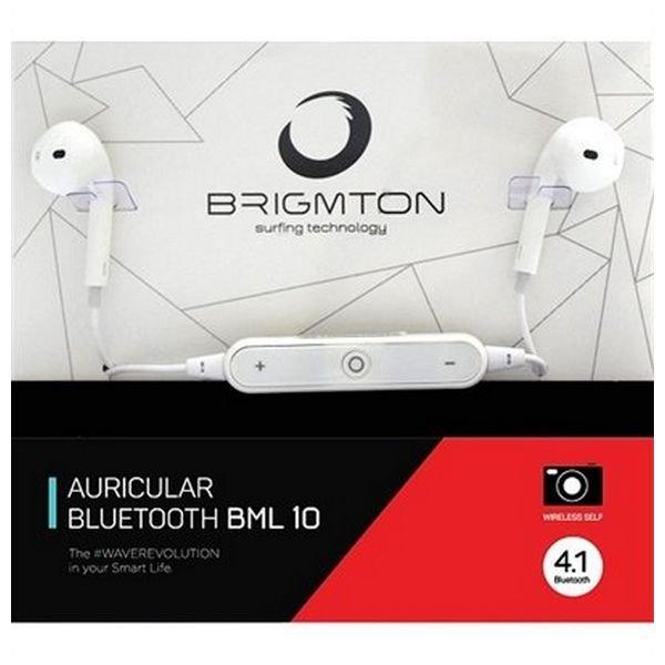 Image of   Brigmton Auricular Bml-10 - Trådløs Bluetooth Høretelefoner Med Mikrofon - Hvid