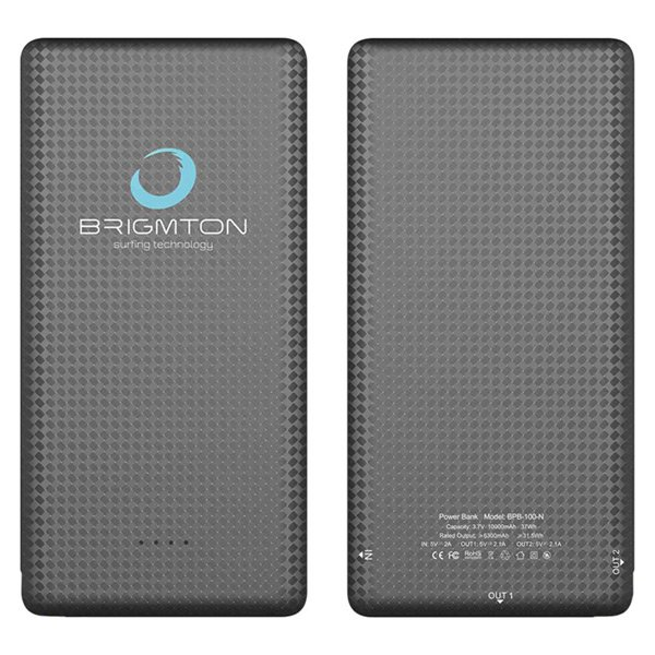 Image of   Brigmton Powerbank Bpb-100-n - 10000 Mah Inkl. Usb Kabel - Sort