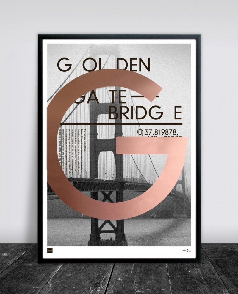 buus works plakat golden gate bridge 50x70cm k b billigt her. Black Bedroom Furniture Sets. Home Design Ideas