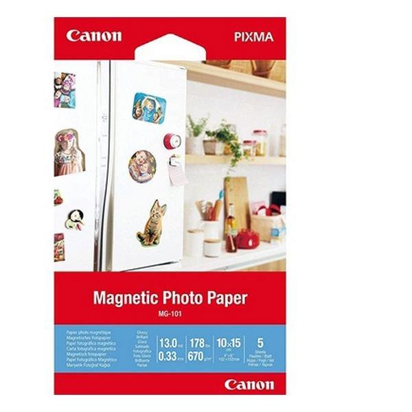 Image of   Canon - Magnetisk Fotopapir - Glossy - Mg-101 - 5 Ark