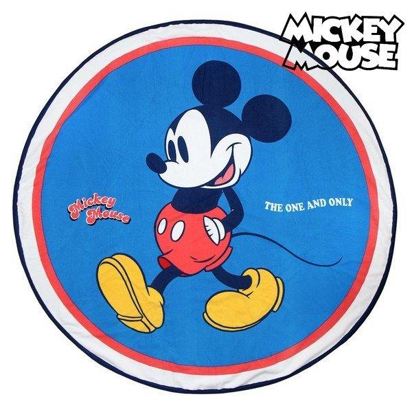 Cirkulært Mickey Mouse Strandhåndklæde - Blå Rød