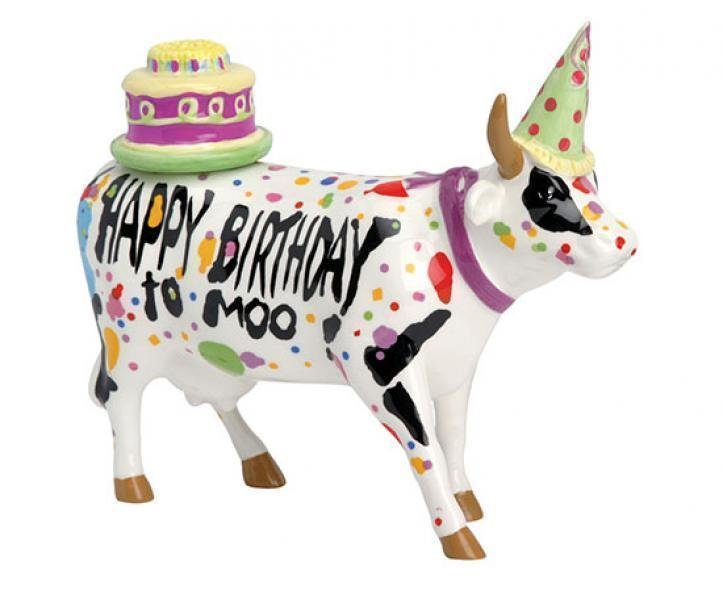 Image of   Cow Parade Ko - Happy Birthday To Moo! - Mellem - 17x13.5cm