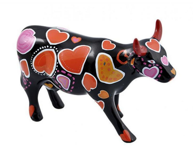 Image of   Cow Parade Ko - Cow-ween Of Hearts - Mellem - 16,5x11cm