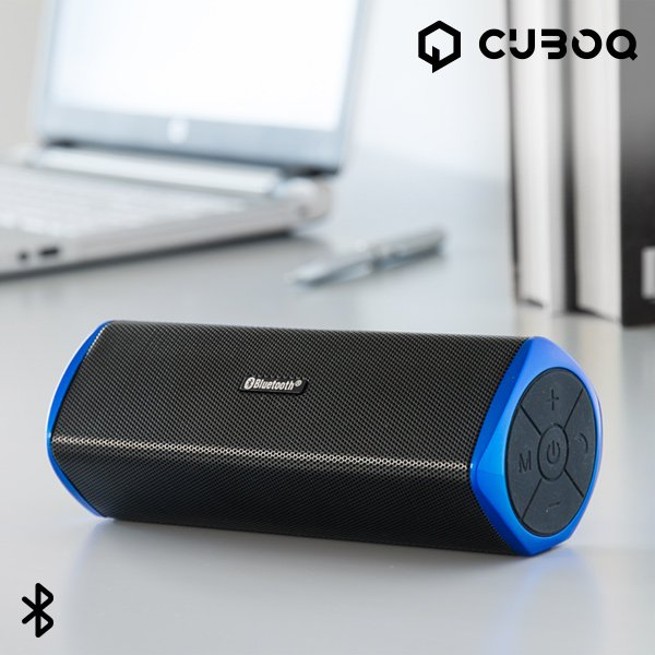 Image of   Cuboq Trådløs Bluetooth Højtaler Og Power Bank På 6000 Mah - Sort Blå