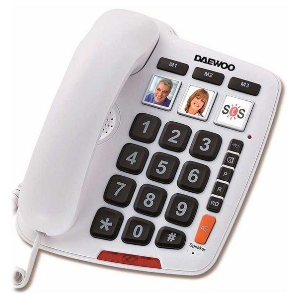 Image of   Daewoo Dtc-760 - Fastnet Telefon Til ældre - Hvid