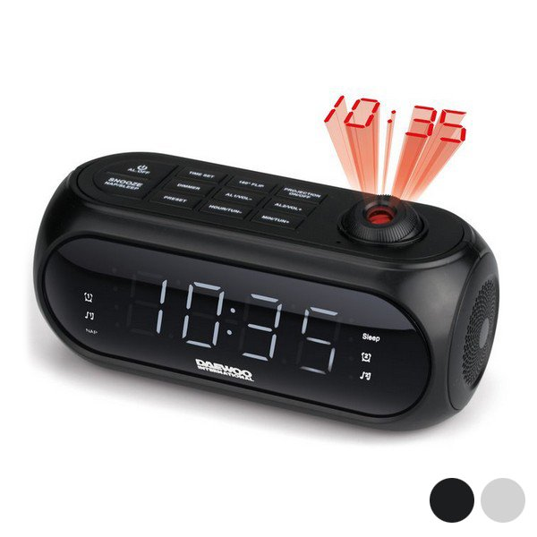 Image of   Daewoo - Fm Clockradio Med Projektor Ur Og Snooze Funktion - Dcp-490 - Sort
