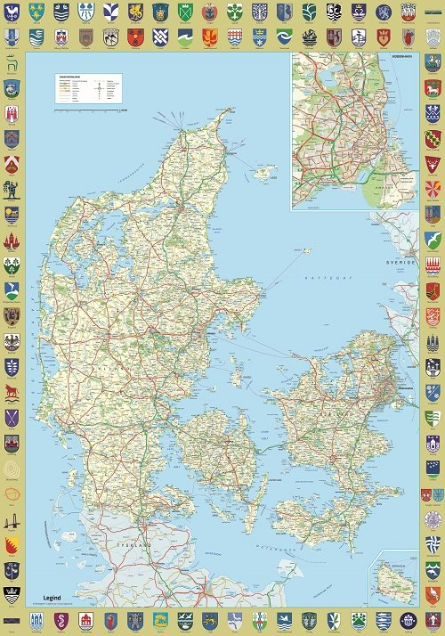 Image of   Danmarkskort Plakat Med Byvåbenskjold
