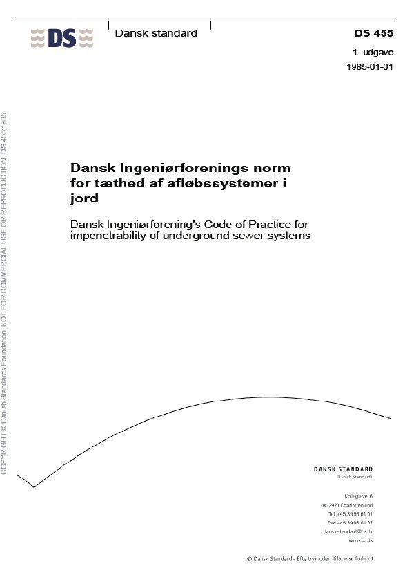 Billede af Dansk Ingeniørforenings Norm For Tæthed Af Afløbssystemer I Jord - Bog