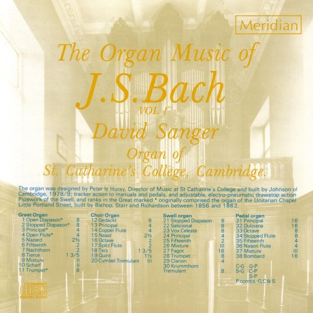 Image of   David Sanger - The Organ Music Of J.s.bach, Vol 1 - CD